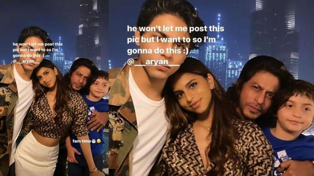 Suhana Khan has shared a picture from SRK's birthday celebration.