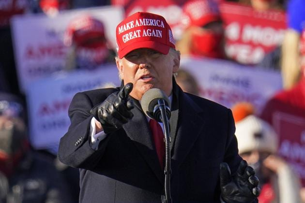 President Donald Trump gestures while addressing a campaign rally at the Wilkes-Barre Scranton International Airport in Avoca, Pa, Monday, Nov. 2, 2020.(AP photo)