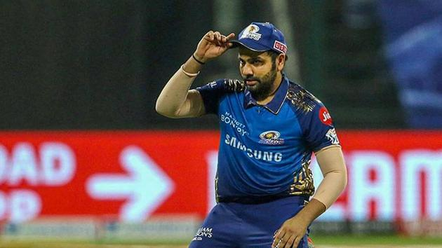 Mumbai Indians Skipper Rohit Sharma during the first cricket match of IPL 2020 against Chennai Super Kings, at Sheikh Zayed Stadium, Abu Dhabi.(PTI)