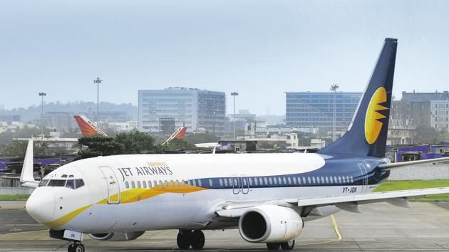 Jet airways Aircraft taxis for take off at Mumbai International Airport in Mumbai, on July 24, 2009.(File photo: Mint/ Abhijit Bhatlekar)