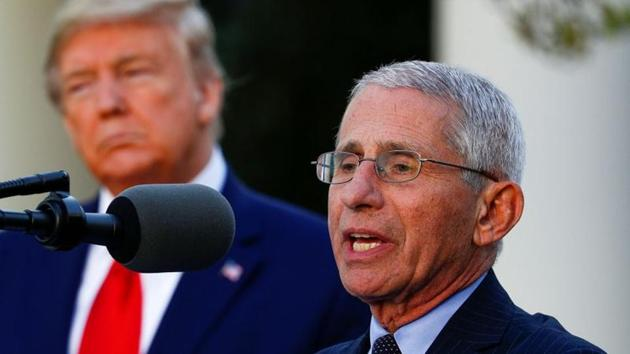 FILE PHOTO: Dr. Anthony Fauci, director of the National Institute of Allergy and Infectious Diseases, addresses the daily coronavirus response briefing as US President Donald Trump stands by in the Rose Garden at the White House in Washington,on March 30, 2020 (REUTERS/Tom Brenner)