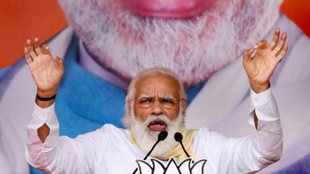 Prime Minister Narendra Modi addresses an election rally for the second phase of Bihar assembly polls in Samastipur district on Sunday.(PTI Photo)