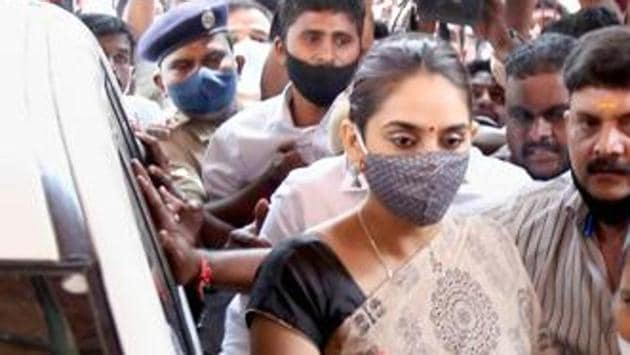 Kannada actress Ragini Dwivedi at the Central Crime Branch office for question in connection with the Sandalwood drug scandal, in Bengaluru on September 4. She was arrested on September 14.(PTI FILE PHOTO)