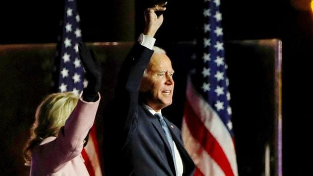 """""""I will govern as an American president,"""" Biden said. """"There will be no red states and blue states when we win. Just the United States of America.""""(REUTERS)"""