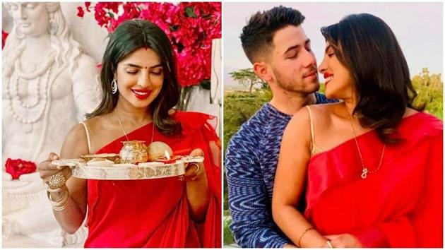 Priyanka Chopra and Nick Jonas celebrate Karwa Chauth.