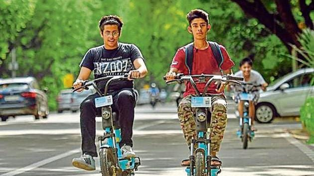 The New Delhi Municipal Council provides a similar e-bicycle hiring service in areas under its jurisdiction.(Amal KS/HT archive)