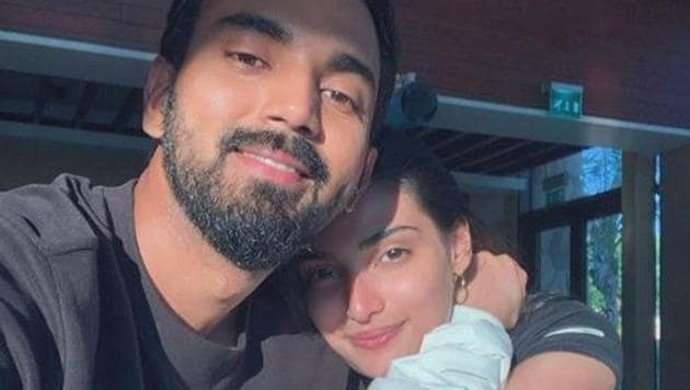 Athiya Shetty and KL Rahul pose together.