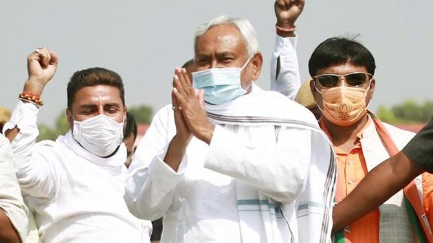 CM Nitish Kumar during campaigning in Bihar. (Santosh Kumar/HT Photo)