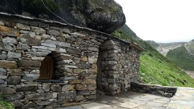 A view of the Rudra meditation cave in Kedarnath.(HT PHOTO)