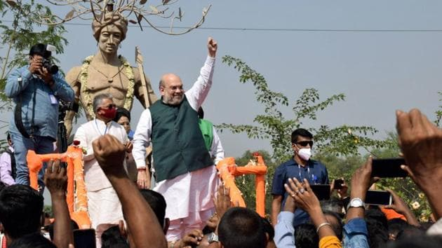 Union Home Minister Amit Shah after paying tribute to Birsa Munda in Bankura district on Thursday.(PTI)