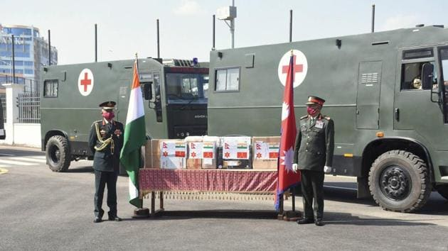 Army chief Gen MM Naravane presents medical equipment for two field hospitals of Nepal Army, in Kathmandu on November 5.(PTI)
