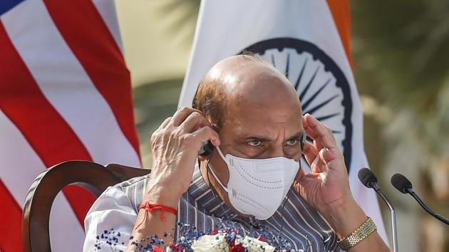 Defence minister Rajnath Singh on Thursday addressed the diamond jubilee celebration of the National Defence College. (File Photo)(PTI)