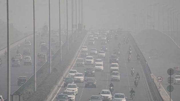 Gurugram: Vehicles ply on roads, amid hazy weather conditions, in Gurugram, Saturday, Oct. 31, 2020. The concentration of major air pollutants PM 2.5 and PM 10 are high in the five immediate neighbours of Delhi including Gurugram, according to the air quality index (AQI) maintained by the Central Pollution Control Board (CPCB). (PTI Photo)(PTI31-10-2020_000070A)(PTI)