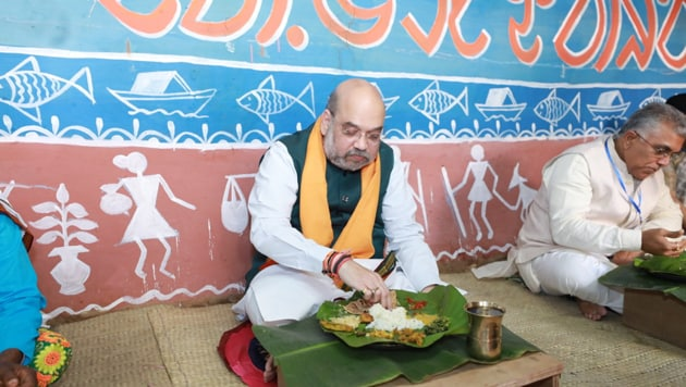 Amit Shah, who is on a two-day tour to the state, arrived in Bankura this morning to take stock of the party's organisation in the district. The assembly election is likely to be held in the state in April-May next year.(BJP4Bengal/Twitter)