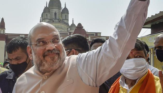 Amit Shah also held a review meeting with the senior officers of the Central Reserve Police Force (CRPF) in Bankura.(PTI)