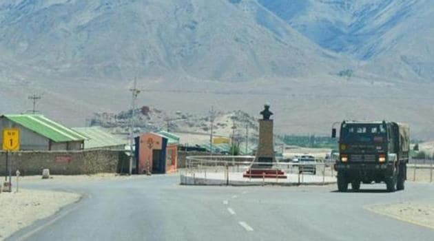 An army truck moves towards LAC, amid India-China border friction in eastern Ladakh, in Leh.(PTI File Photo)