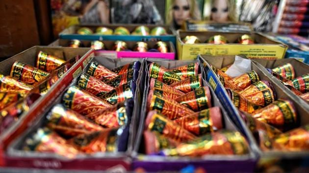 Green crackers on display at a shop ahead of Diwali, near Jama Masjid in New Delhi. Even green crackers have been banned in Delhi.(HT file)