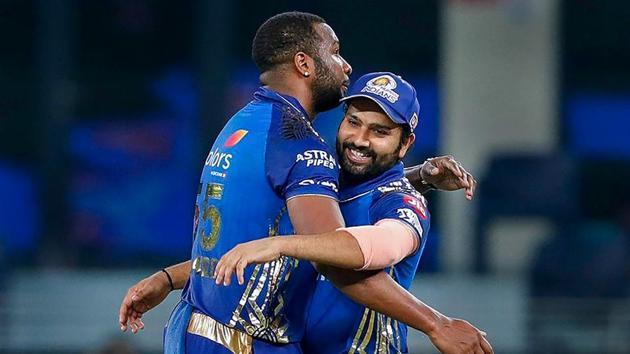 Skipper Rohit Sharma and Kieron Pollard of Mumbai Indians celebrate their win over Delhi Capitals in the Qualifier 1 match at the Indian Premier League (IPL) 2020, in Dubai.(PTI)
