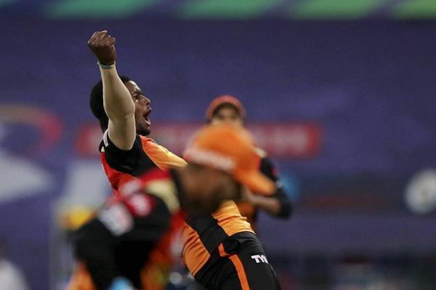 Abu Dhabi: Jason Holder of Sunrisers Hyderabad celebrates the wicket of Virat Kohli of Royal Challengers Bangalore during the eliminator match of the Indian Premier League (IPL), at the Sheikh Zayed Stadium, in Abu Dhabi, Friday, Nov. 6, 2020. (PTI Photo/Sportzpics) (PTI06-11-2020_000233B) (PTI)