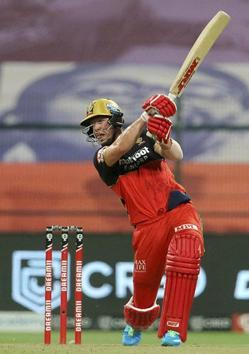 Abu Dhabi: AB de Villiers of Royal Challengers Bangalore plays a shot during the eliminator match of the Indian Premier League (IPL) against Sunrisers Hyderabad, at the Sheikh Zayed Stadium, in Abu Dhabi, Friday, Nov. 6, 2020. (PTI Photo/Sportzpics) (PTI06-11-2020_000235B) (PTI)