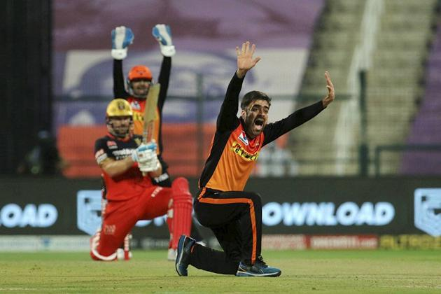 Abu Dhabi: Rashid Khan of Sunrisers Hyderabad appeals unsuccessfully for a wicket during the eliminator match of the Indian Premier League (IPL) against Royal Challengers Bangalore at the Sheikh Zayed Stadium, in Abu Dhabi, Friday, Nov. 6, 2020. (PTI Photo/Sportzpics) (PTI06-11-2020_000232B) (PTI)