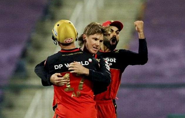 Abu Dhabi: Adam Zampa of Royal Challengers Bangalore celebrates the wicket of Manish Pandey of Sunrisers Hyderabad during the eliminator match of Indian Premier League (IPL), in Abu Dhabi, Friday, Nov. 6, 2020. (PTI Photo/Sportzpics for BCCI) (PTI06-11-2020_000246A) (PTI)