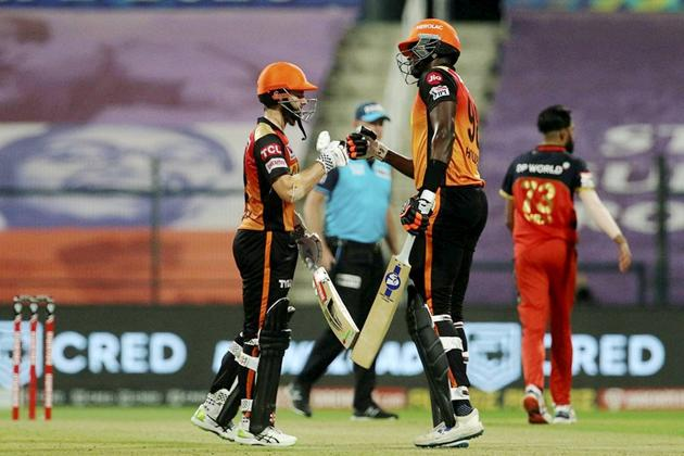 Abu Dhabi: Jason Holder and Kane Williamson of Sunrisers Hyderabad during the eliminator match of Indian Premier League (IPL) against Royal Challengers Bangalore, in Abu Dhabi, Friday, Nov. 6, 2020. (PTI Photo/Sportzpics for BCCI) (PTI06-11-2020_000251A) (PTI)