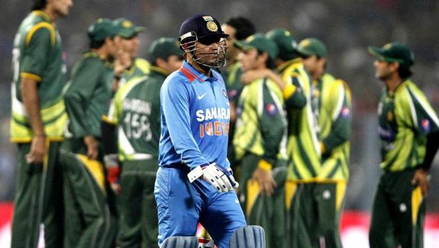 Virender Sehwag walks back after his wicket was claimed by Umar Gul in the second one day international match against Pakistan.(HT/Ashok Nath Dey)