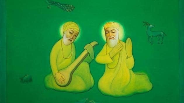 In recent years there has been an effort by poets, painters, fiction writers and scholars to retrieve the story of Mardana not just as Guru Nanak's disciple but as a friend of his youth and travel companion in all of his spiritual journeys.(Courtesy: Sidharth (artist))