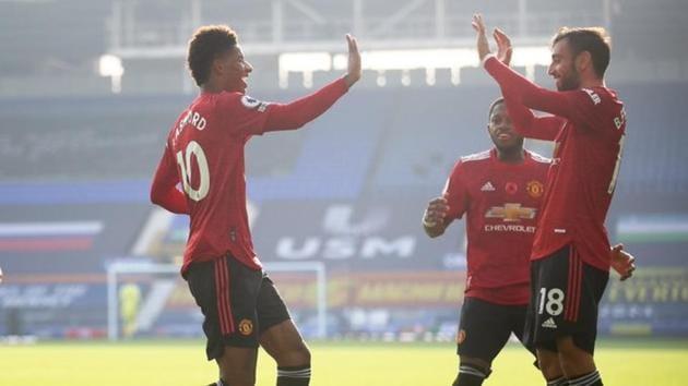 Photo of Manchester United's Bruno Fernandes celebrating goal against Everton(Twitter)