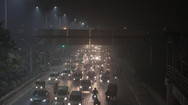"Commuters in the capital on the evening of November 6. According to the winter segment of the Graded Response Action Plan (GRAP), Delhi will enter the ""severe plus"" or ""emergency"" zone if PM 2.5 levels constantly remain above the 300ug/m3 and PM 10 levels stay above 500ug/m3 for at least 48 hours. IMD data for November 5 night, showed that the PM 2.5 levels had started improving and reached below the 300ug/m3 mark. (Raj K Raj / HT Photo)"