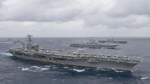 The aircraft carrier USS Nimitz (CVN 68)as it leads a formation of ships from the Indian navy, Japan Maritime Self-Defense Force (JMSDF) and the US Navy in the Bay of Bengal as part of Exercise Malabar 2017.(AFP)