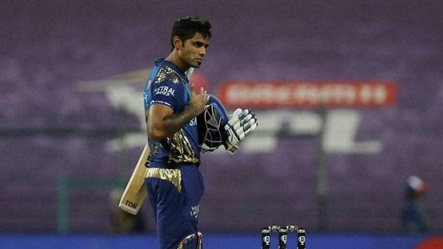 Surya Kumar Yadav of Mumbai Indians after winning the Indian Premier League (IPL) match between the Mumbai Indians and the Royal Challengers Bangalore, at the Sheikh Zayed Stadium in Abu Dhabi.(PTI)
