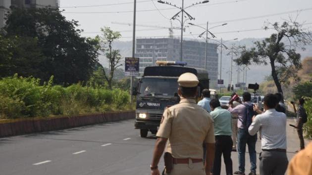 Republic TV Editor-in-Chief Arnab Goswami was shifted from Alibag Covid-19 quarantine centre to Taloja Central Jail in Navi Mumbai on Sunday. (Bachchan Kumar/HT)