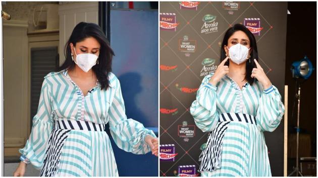 Kareena Kapoor did not want to take off her mask.(Varinder Chawla)