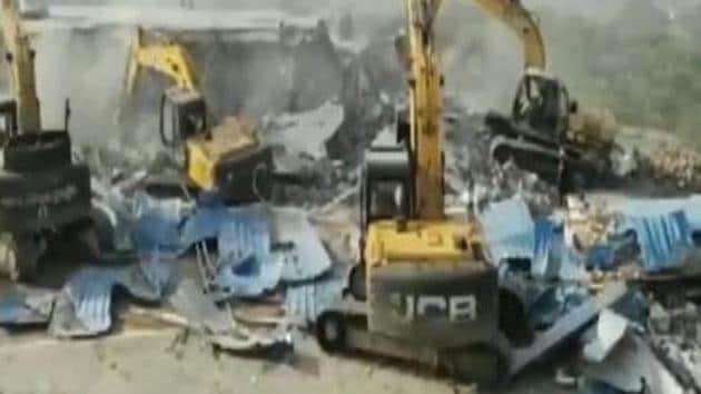 The demolition work as seen at Computer Baba's Indore ashram. (Videograb)