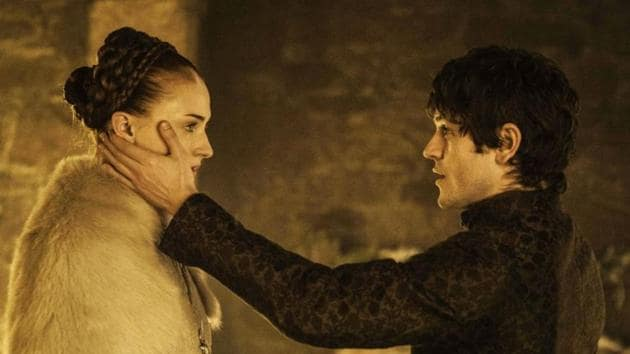 Iwan Rheon and Sophie Turner in a still from the controversial Game of Thrones episode.