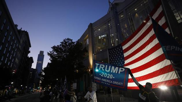 Supporters of President Donald Trump protest outside the Pennsylvania Convention Center in Philadelphia, Sunday, Nov. 8, 2020, a day after the 2020 election was called for Democrat Joe Biden. (AP Photo/Rebecca Blackwell)(AP)