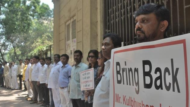 File photo of a march in Mumbai for bringing back Kulbhushan Jadhav to India.(HT file photo)