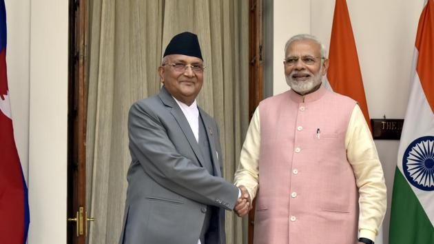 New Delhi, India- April 7, 2018: Prime Minister Narendra Modi with his Nepalese counterpart Khadga Prasad Oli before a meeting at Hyderabad House in New Delhi, India, on Saturday, April 7, 2018. (Photo by Sonu Mehta/ Hindustan Times)(Sonu Mehta/HT PHOTO)