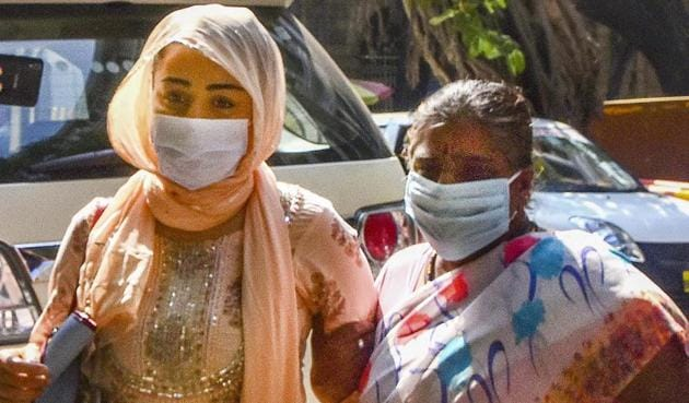 Mumbai: Shabana Saeed, wife of Bollywood producer Firoz Nadiadwala, arrives at NCB office after being arrested by the officials in connection with a drug case, in Mumbai.(PTI)