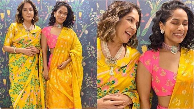 Neena Gupta in floral bloom saree and Masaba Gupta in candy pink lehenga slay this Diwali(Instagram/houseofmasaba)