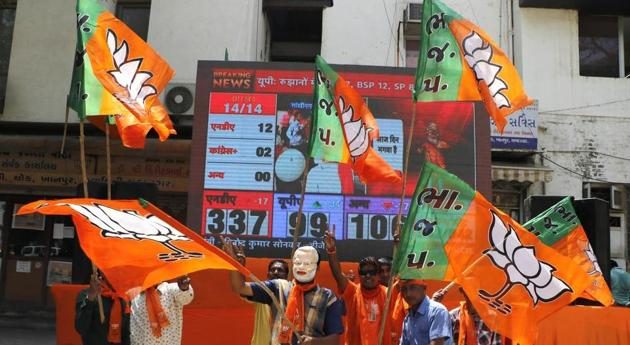 The ruling BJP is leading in all the seven seats.(Siddharaj Solanki / Hindustan Times photo for representation)