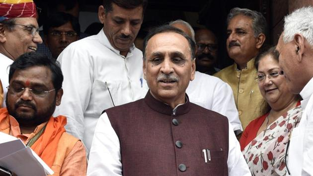 Gujrat Chief Minister Vijay Rupani described the Gujarat by-polls result a trailer of the upcoming civil body in Gujarat(Mohd Zakir/HT PHOTO)