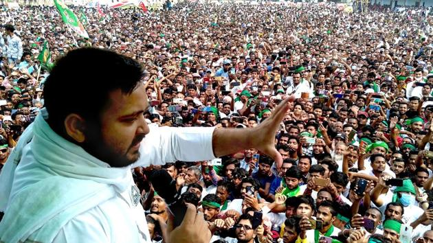RJD leader Tejashwi Yadav addresses an election rally for Bihar Assembly elections, in Madhubani district on Nov 3, 2020.(PTI File Photo)