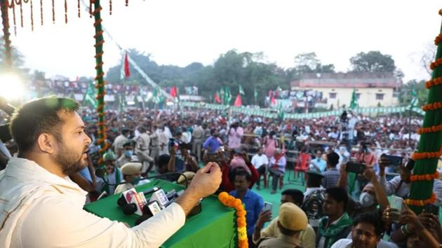 Bihar Election Results 2020: RJD leader Tejashwi Yadav addressing an election rally ahead of the second phase of Bihar Assembly Elections in Raghopur, Bihar.(Santosh Kumar/ Hindustan Times)