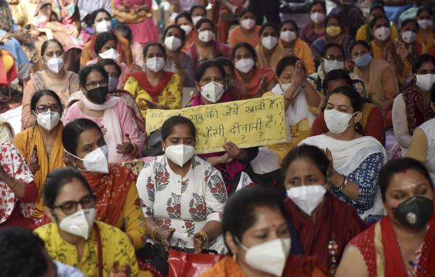 Nurses and Paramedical staff during a strike over their pending salaries for August-October at Hindu Rao Hospital in New Delhi, Thursday, Nov. 5, 2020.(PTI)