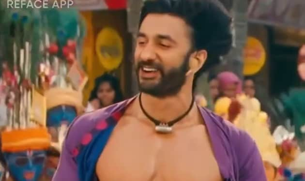 Raj Kundra used an app to digitally stitch his face onto the body of Ranveer Singh.