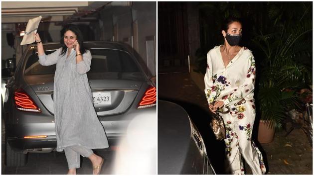Kareena Kapoor and Malaika Arora at Karan Johar's home.