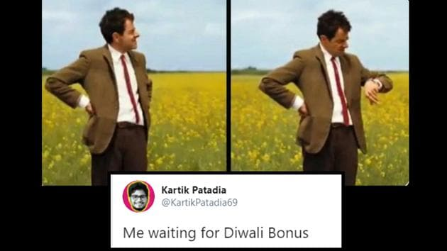 The image shows a hilarious meme regarding the Diwali bonus wait.(Twitter)